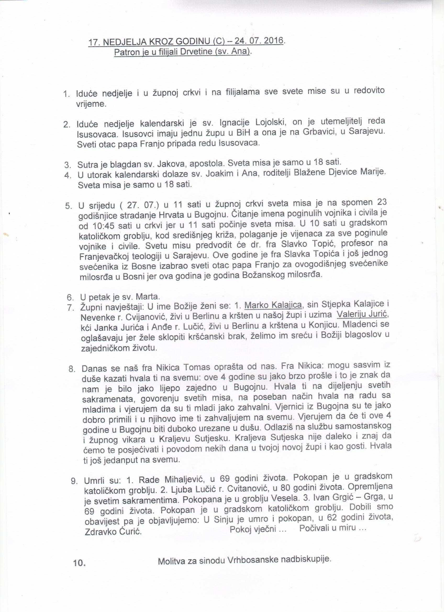 Župne obavijesti 24.07.2016